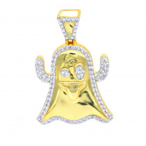 Emoji Ghost Symbol Real Diamond Pendant for Men 1CT 14K Gold by Luxurman