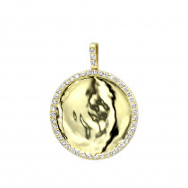 Engravable 14K Gold Diamond Circle Pendant for Women 1 Carat Medallion
