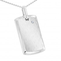 Engravable Sterling Silver Diamond Dog Tag Pendant for Men & Chain Necklace
