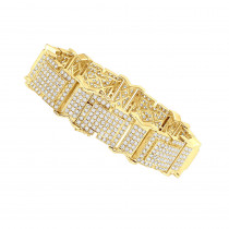 Fulliy Iced Out VS Diamond Bracelet for Men in 14k Gold by Joe Rodeo 21 Carats