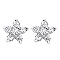 Genuine Diamond Star Stud Earrings Cluster Starfish Design 14K Gold 0.2ct
