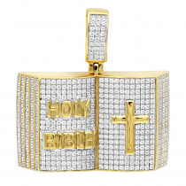 Hip Hop Jewelry 10k Gold Diamond Holy Bible with Cross Pendant for Men 1.5c