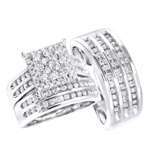 Wedding And Engagement Trio Diamond Ring Set For Him And Her 1 3ct 14k Gold