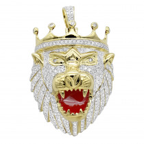 Large 10K Gold Diamond Lion Head Pendant for Men w Crown 4ct by Luxurman