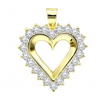 Large 14k Gold Open Heart Diamond Pendant for Women 2.75ct VS Diamonds