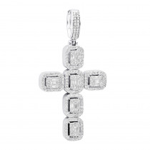 Large 2in Unique Mens Diamond Cross Pendant 14k Gold Round Baguette Diamonds