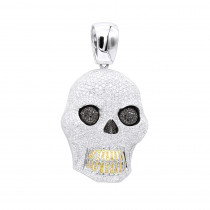 Large 32.12Ct 14K Gold VS White Black Yellow Diamond Skull Pendant for Men