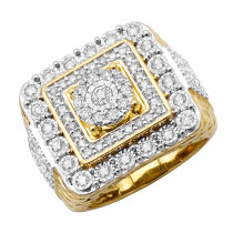 Large Real Hip Hop Diamond Pinky Ring For Men 14k Gold Square Shape 2.25ct