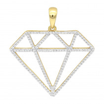 Large Size Diamond Shape Charm Pendant 0.5CT in 14K Gold by Luxurman