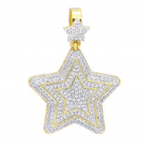 Large Unisex High Fashioned Diamond Star Pendant  in 14K gold 1.8CT