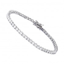 Line Bracelets: Elegant Ladies Diamond Tennis Bracelet 4 Carats 14K Gold