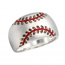 LuvMyJewelry Home Run Baseball Red Diamond & Enamel Band Ring in Sterling Silver 0.16ct