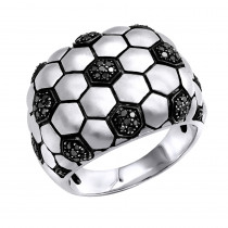 LuvMyJewelry Kick & Goal Soccer Black Diamond Head Ring in Sterling Silver 0.33ct