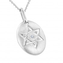 Luxurman Love Quotes:Sterling Silver Diamond Star of David Medallion Pendant