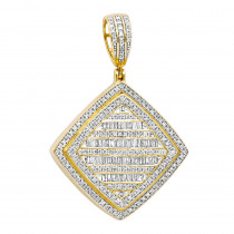 Mens Diamond Rhombus Pendant 1.8ct Baguette & Round Diamonds 14K Gold