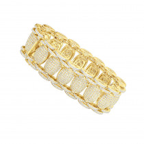 Mens Hip Hop Style Iced Out Diamond Link Bracelet 14k Gold 21Ct