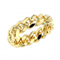 Miami Cuban Link Chain Ring for Men 14k Gold 5.5mm by Luxurman