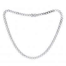 Modern Round Cut Diamond Tennis Necklace for Men in 10K Gold Bezel Chain 4c