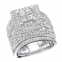 Multi Row Round & Princess Cut Diamond Engagement Ring Set 14K Gold 3.5CT