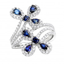 Pear Cut Sapphire and Diamond Flower Bloom Cocktail Ring for Women 14K Gold