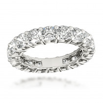 Platinum 6 Carat Cushion Cut Diamond Eternity Band for Women G VS Luxurman