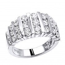 Platinum Anniversary Rings Multi Row Ladies Diamond Wedding Band 2.19CT VS