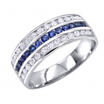 Platinum Sapphire and Diamond Wedding Band for Men or Women by Luxurman
