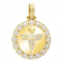 Real 10K Gold Angel Diamond Medallion Pendant For Men 2.15 CT