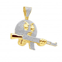 Real 10k Gold Angry Emoji with AK47 Machine Gun Pendant with Diamonds 1.2ct