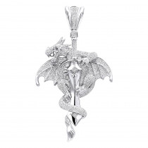 Real 10K Gold Diamond Dragon on a Sword Pendant for Men 7.25ct by Luxurman