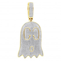 Real 10k Gold Emoji Ghost Haloween Diamond Pendant for Men 1.2ct