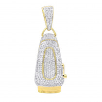 Real 10K Gold Mens Diamond Barber Shop Trimmer Pendant Clippers Charm 1ct