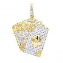 Real 10k Gold Royal Flush Poker Hand Ace High Spades Diamond Pendant 0.65CT