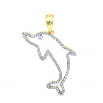 Real 14k Gold Diamond Dolphin Pendant for Men 0.33ct by LUXURMAN