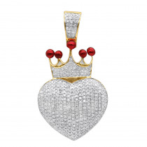 Real 14K Gold Fully Iced Out Puffed Diamond Crown Heart Pendant 1 Carat