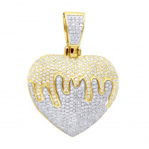 Real 14k Gold Iced Out Dripping Heart Diamond Pendant for Women 1.3ct