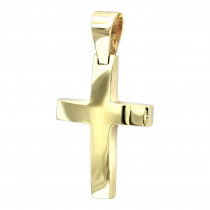 Real 14K Gold Small Cross Pendant for Women and Men by LUXURMAN