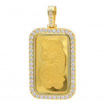 Real 99.9 Gold 1 Ounce Pamp Suisse Bar Lady Fortuna G VS Mens Diamond Pendant