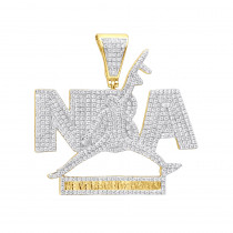 Real Hip Hop Jewelry 10K Gold Diamond NBA Pendant for Men 1.5Ct