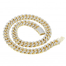 Real Hip Hop Jewelry Iced Out Miami Cuban Link Diamond Chain for Men 10K Gold