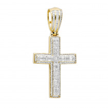 Religious Jewelry Large Baguette & Round Diamonds Mens Cross 1.5ct 14k Gold