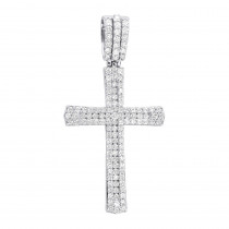 Religious Jewelry: Solid 14k Gold Round Diamonds Cross Pendant for Men 1.4ct