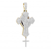 Religious Jewelry Unique 14k Gold Large Mens Diamond Cross Pendant with Rosary