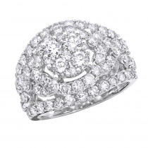 Right Hand Rings 14K Gold Cluster Diamond Ring for Women 4CT by Luxurman