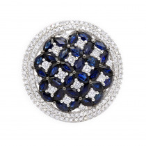 Royal Halo Round Diamond Right Hand Ring for Women with Sapphires 14K Gold