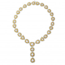 Royal Style Ladies Yellow and White Diamond Necklace in 18K Gold 53.17ct