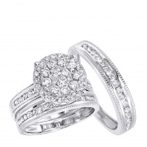 Royal Trio Wedding Band Set: Diamond Engagement Ring Set 1.75CT 14K Gold