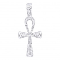 Small Egyptian Ankh Diamond Cross Pendant in 14K gold Symbol of Life 0.2ct