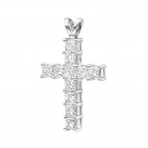 Small Ladies VS Princess Cut Diamond Cross Pendant in Platinum 1.5CT