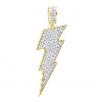 Solid 10K Gold Genuine Diamond Lighting Bolt Pendant Emoji Charm 1Ct 1.5in